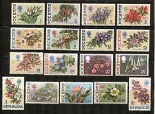FLOWERS DEFINITIVES ON BERMUDA 1970 Sc 255-271, MINT, VERY FINE HINGE REMNANTS