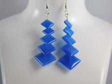 Blue, Turquoise, Aqua Beaded Drop Hook Earrings - Handmade - Silver Plated