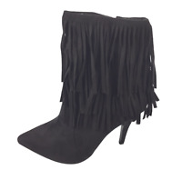 Womens Ladies Black Faux Suede High Heel Fringe Shoes Ankle Boots Size UK 8 New