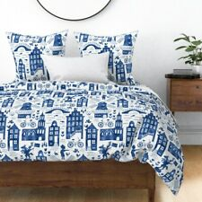 Dutch Buildings Travel Watercolor Europe Blue Sateen Duvet Cover by Roostery