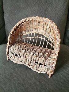 Primitive Wicker Doll Bench Vintage