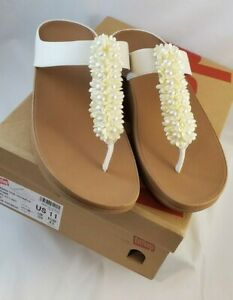 FITFLOP Verna Wedge Sandal Thong (STONE) OFF WHITE  Pearls & Flowers Size 11
