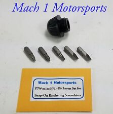 SNAP ON Ratcheting Screwdriver REPLACEMENT CAP & 5 Bits Snap-On Tools Black