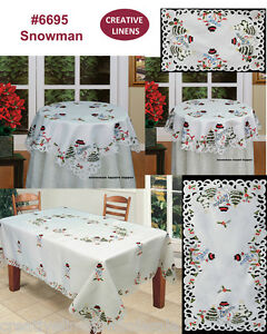 Holiday Embroidered Snowman Christmas Tree Placemat Table Runner Tablecloth 6695
