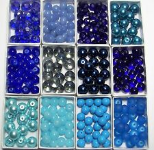 WHOLESALE JEWELRY SUPPLIES LOT~GLASS~CRYSTAL~225 BEADS~COBALT-AQUA-BLUE-6x8-10mm