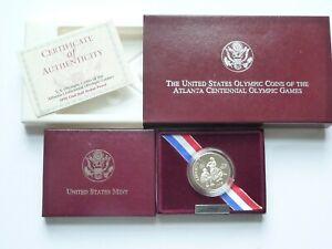 1995-S Olympic Baseball Proof Half Dollar Box & COA