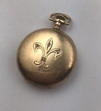 Antique 14k Solid Gold Waltham Diamonds fleur de lis Pocket Watch