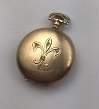 14k Solid Gold Waltham Diamonds  fleur de lis Pocket Watch