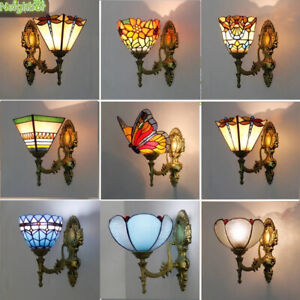 Baroque Butterfly Bathroom Mirror Front Wall Lamps Tiffany Stained Glass Lights