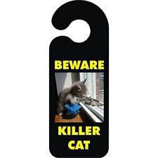 Beware Killer Cat Door Handle Hanging Sign - Hanger Novelty Bedroom Quality