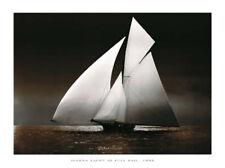 Iverna Yacht at Full Sail, 1895 Sailboats Print Poster 31.5x23.5