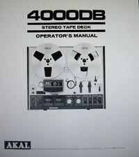 AKAI 4000DB MANUALE DELL'OPERATORE Inc CONN DIAG stampato in lingua inglese STEREO TAPE DECK
