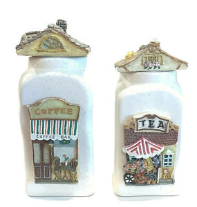 2 ANIMATED HAND MADE, HOUSE SHAPED, VTG CERAMIC KITCHEN CANISTERS WITH ROOF LID