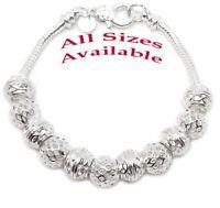 925 Sterling Silver Beads And Snake Chain Bracelet Small Reg Large SIzes+GiftPkg