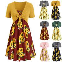 Women Lady Short Sleeve Bow Knot Bandage Top Sunflower Print Mini Dress Suits US