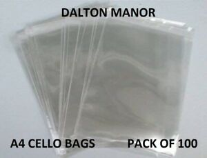 DALTON MANOR A4 CELLO BAGS PACK 100 HIGH QUALITY 40 MICRON WITH SELF SEAL FLAP