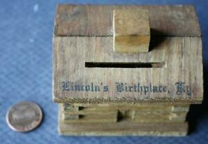 1940s WWII Era Hodgenville Kentucky Abraham Lincoln Birthplace log cabin bank!