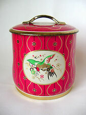 ViNTaGe BoWeD Red~Gold~BIRD on Branch Tea Tin~Metal Candy~Biscuit Box Canister