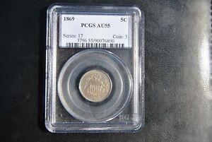 1869 Shield Nickel PCGS AU55