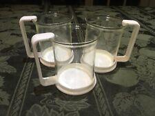 3 Glass Coffee/Tea Mugs/Cups Red Plastic Handles Star Trek/Picard Bodum Like