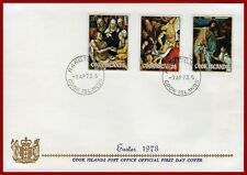Cook Islands 1973 Easter, ART, paintings first day cover, SG 424-426, Sc 346-348