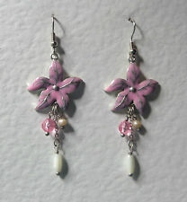 PINK ENAMEL FLOWER EARRINGS MATT SILVER PLATED WITH PEARL DANGLES HOOK