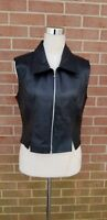 New Identity Womens Black Leather Vest Size Junior L (Womens S)