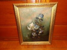 Late 19th. Early 20th.c Oil on Canvas Painting of White & Blue Flowers, Antique