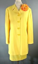 TAHARI 100% Wool 2pc Skirt Suit 14 Yellow Wear to Work Formal Made In USA #1031