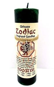Pillar Candle Scented with Chinese Zodiac Rooster Symbol Hemp Twine Necklace