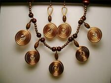 UNIQUE EARTHY 5 COPPER COIL WIRE DESIGN/WOOD AND COPPER NECKLACE/EARRING SET