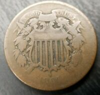 1864 Large Motto Two Cent 2c Good G or Very Good VG Problem Free Original