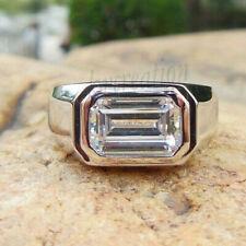 Near White 1.67 Ct Emerald Moissanite Men's Engagement Ring 925 Sterling Silver