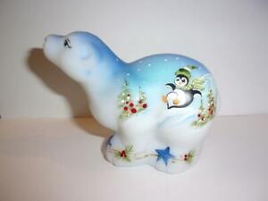 Fenton Glass Sledding Penguins Christmas Polar Bear Figurine Lt Ed Kibbe #10/40