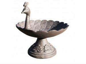 Cast Iron Peacock Free Standing Bird Feeder Ornate Pedestal Design