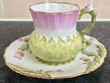 More details for vintage hammersley porcelain thistle pattern & handle cup & saucer duo 5896
