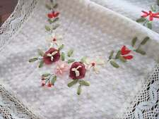 Pretty Hand Silk Ribbon 3D Flower Embroidery Crochet Lace Table Runner