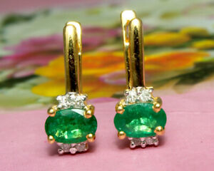 Natural Emerald Oval Gemstone Gold Plated 925 Solid Silver Women Stud Earrings