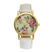 AUSTRIAN CRYSTAL LADIES WATCH WHITE WITH FLOWERS BRAND NAME WATCH JAPAN MOVEMENT