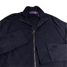 Ralph Lauren Purple Label 100% Cotton Track Jacket Zip-Up Mens L Large Navy Blue