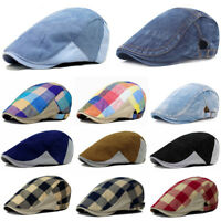Men Checks Duckbill Gatsby Hat Golf Driving Cabbie Beret Newsboy Ivy Hats Cap