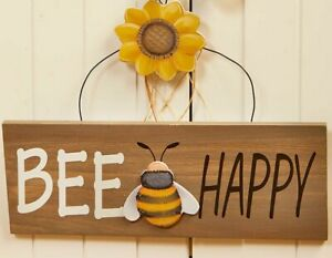 BEE HAPPY and Yellow Sunflower Wall Hanging Sign Wood and Fiberboard NEW