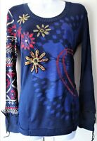 New Desigual Ladies Jumper Top,Bright Blue&Multi,Size M, Ribbed Neck,Full Sleeve