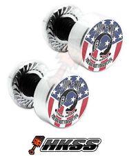 2 Silver Billet Aluminum License Plate Frame Tag Bolts - POW MIA USA FLAG 0NZ