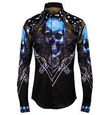 Mens Black Diamond Skull Print Dress Shirt Slim Stand Collar Long Sleeves Casual