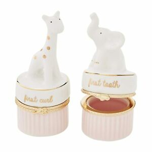 Mud Pie E1 My First Collection Baby Girl Ceramic Keepsake Box Tooth & Curl Set