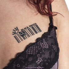 15 x BLACK OWNED barcode Temporary Tattoos Fetish BBC Hotwife Queen of Spades