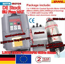 DE➝ 1500W ER16 Air Cooled Spindle Motor VFD 1.5KW Frässpindel 400Hz 80mm CNC Kit
