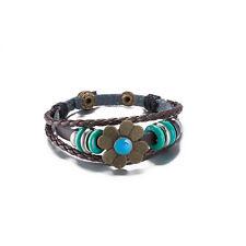 T::A Damen Armband Kunstleder Kordel braun Blüte und Holz Ringen tŸrkis FA002-B