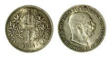 pcc1840_87)  Franz Joseph I 1 Korona 1914 AG Toned